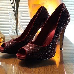 Nine West dark red glittered high heel shoes